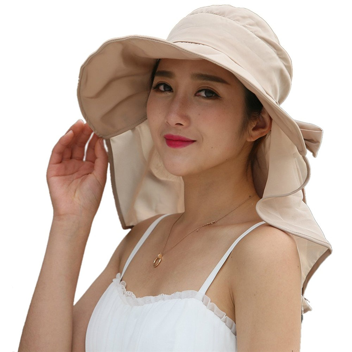 3b73e138f44 Toponechoice Women s Packable Wide Brim UPF 50+ Sun Protection Hat with Neck  Flap