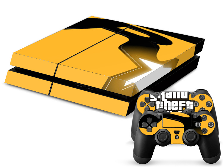 Get quotations · 1set vinyl decal skin ps4 console games gta 5 and 2 stickers for playstation 4 ps4