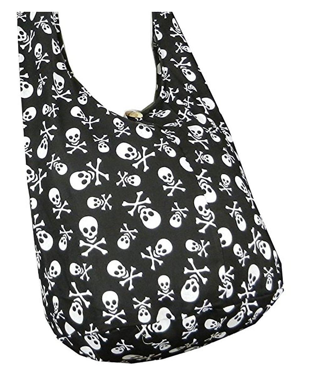 ecd5eeeb90 Get Quotations · BTP! Skull Punk Rock Hippie Hobo Thai Cotton Sling Crossbody  Bag Messenger Purse Small (