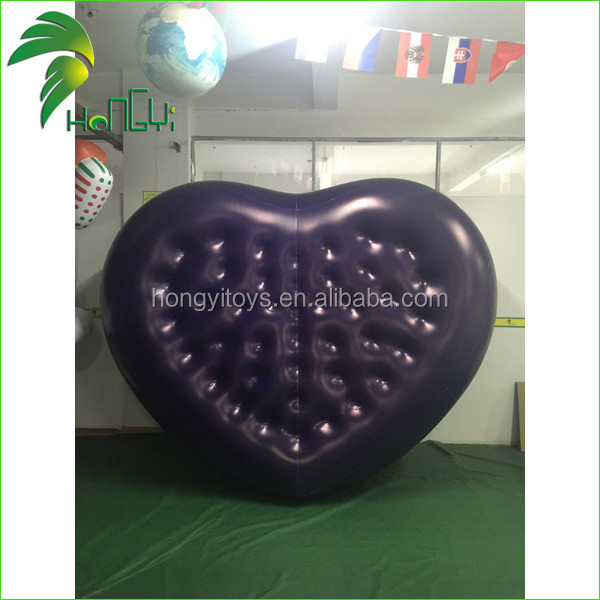 new design customized pvc inflatable air heartshaped bed giant inflatable balloon type