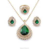 Emerald stone zircon jewelry set, latest Design Dubai Bridal Emerald Stone Jewelry Sets Fashion Gold Plated for women