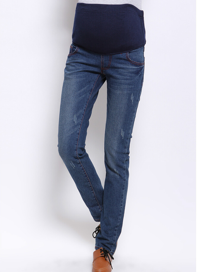 08cb7438c Maternity Skinny Jeans Solid Color Pregnancy Denim Pants Pregnant Womens  Trousers Maternity Clothes Spring Summer Autumn D665