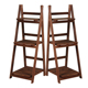 2017 high quality 3 tiers folding bamboo wood flower plant pot shelf rack stand