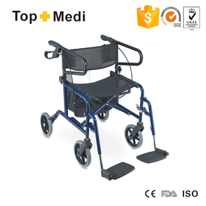 Steel Frame Folding Mini Four Wheel Rollator Walker With Seat And Adjustable Footrest