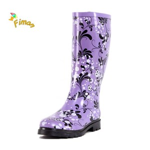 designer rubber boots with flowers printing