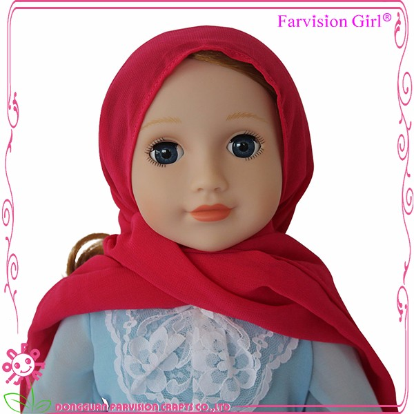 PVC Plastic Type and Model Toy ICTI Factory Plastic Muslim Girl doll clothes