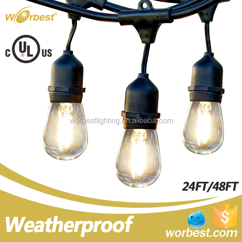 Worbest String Lights PF>0.9 48ft 15 LED Fairy Lights, Outdoor Decorative Lights for Christmas Home, Garden