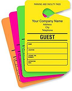 "Parking Permit Hang, Temporary Parking Permit Mirror Hang Tags - Paper, 50 Tags / pack, 3.5"" x 5.5"""