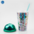 Straw Type Inventory 450 ml Double Wall Paper Insert Cute Green Lid PS Plastic Cup