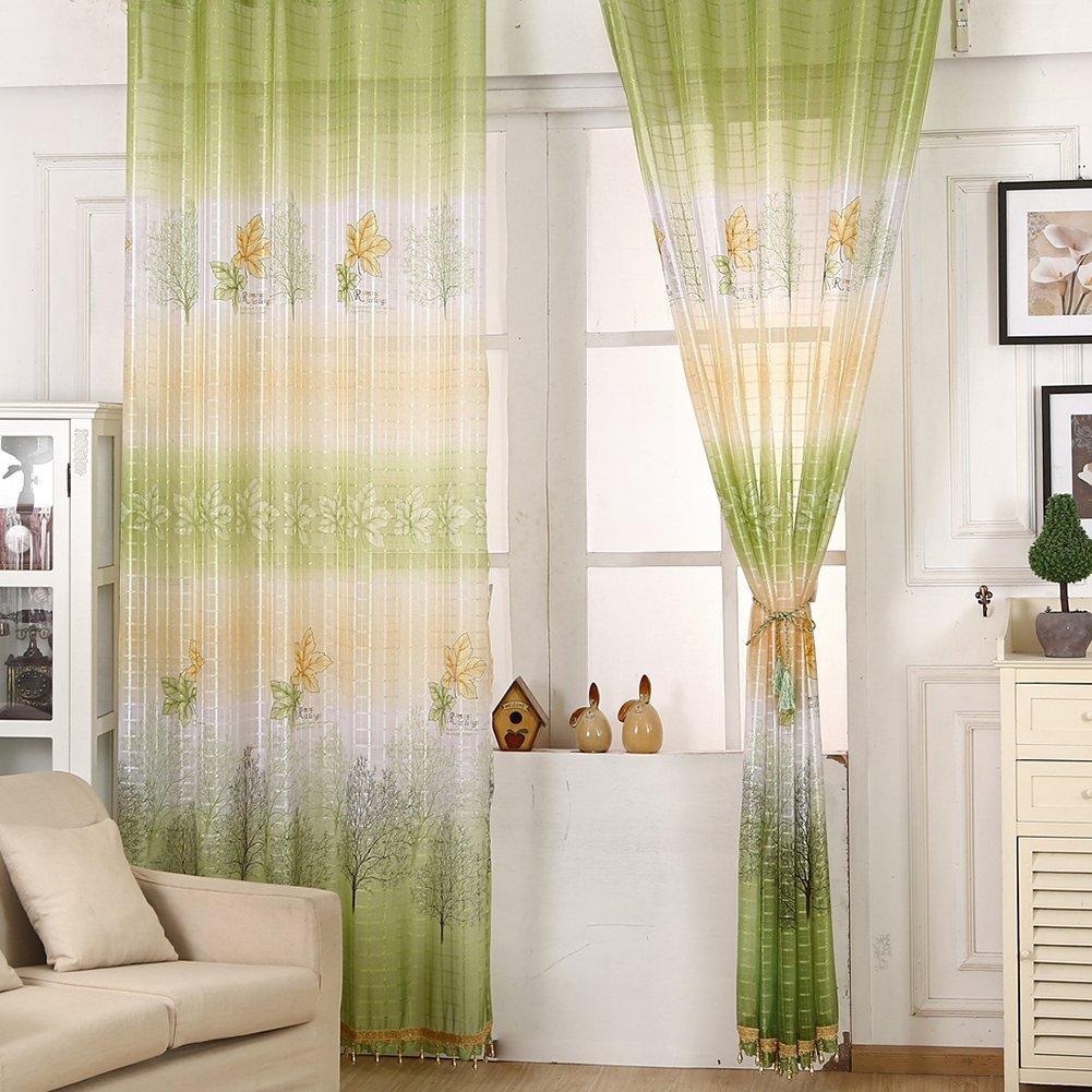 Get Quotations · Loveble 95cmx250cm Door Window Room Tulle Curtain Balcony  Floral Drape Panel Sheer Scarfs Valances Curtains With