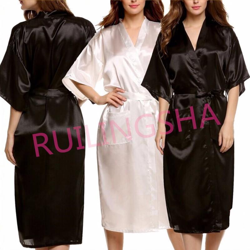 35f8a6220e Wholesale-Mens Womens Plus Size Long Satin Bath Robe Sexy Kimono Silk  Bathrobe Men Peignoir Homme Dressing Gown for Men Summer Robes