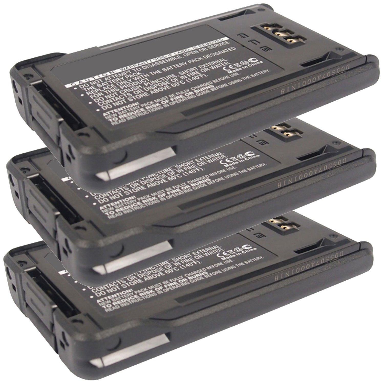 3x Exell 7.4V 1800mAh Li-Ion FRS 2way Radio Battery Fits Kenwood KNB-48L, KNB47L, NX-200, NX-300, TK-5220, TK-5320, For Handheld, Mobile, Communication, Wireless, Portable, Two Way Walkie Talkie, Ham