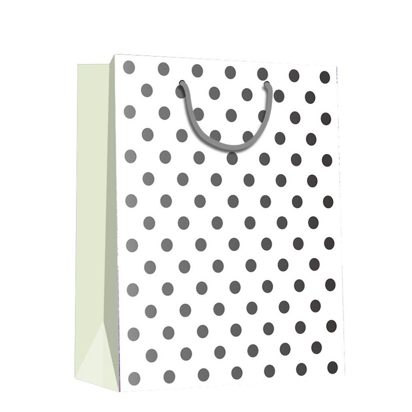 Promotional Fresh Durable Recycled Dot Painting Square Paper Storage Bag With Rope Handle