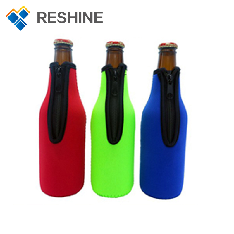 High quality customized logo neoprene single beer bottle cooler