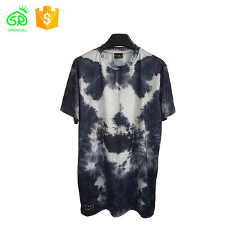 Custom T-shirt Men Short Sleeves Curved Hem Tie Dye Black And White Fashion Tee Shirts