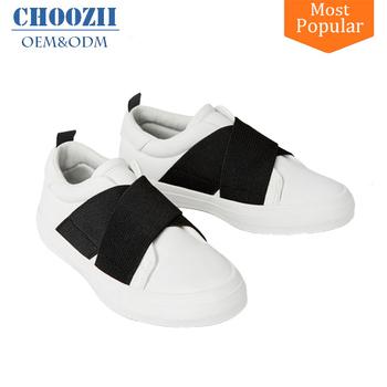 New Model Slip On White Color Sneakers Black Cross Elastic Girls