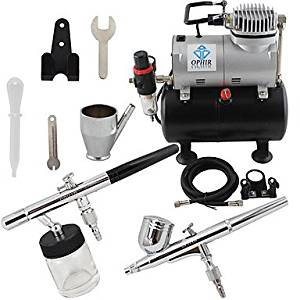 HJLWST OPHIR 2-Airbrush Air Tank Dual Action Airbrush Spray Compressor Kit 0.3mm & 0.35mm for Cake Decoration 110V,220V