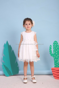 New Elegant Kids Little Cap Sleeve Ribbon Sash Lace Wedding Dress Patterns