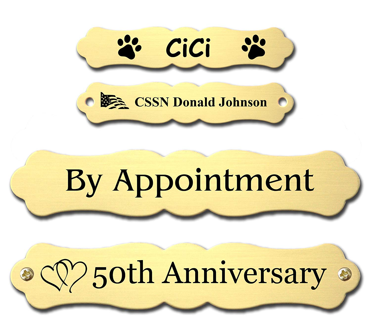 """Custom Engraved Ornate Name Plates, Brass, or Nickel Silver Metal Plate, Personalized, Custom Name Tag, Name Plaque, for Memorial, Sign, Gift, Decoration, Made in USA (Bright Gold, 25/32""""x4-1/32"""")"""