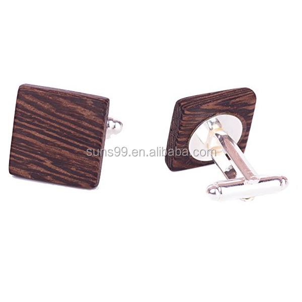 Hot Sale Wood Cufflink For Men Wood Square Blank Without Gift For Groom Boss Idea Gift For Him