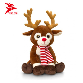 indoor decorations animated brown sitting christmas reindeer with scarf