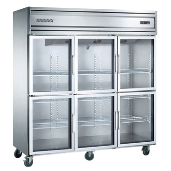 Static cooling commercial kitchen equipment upright display glass door refrigerator