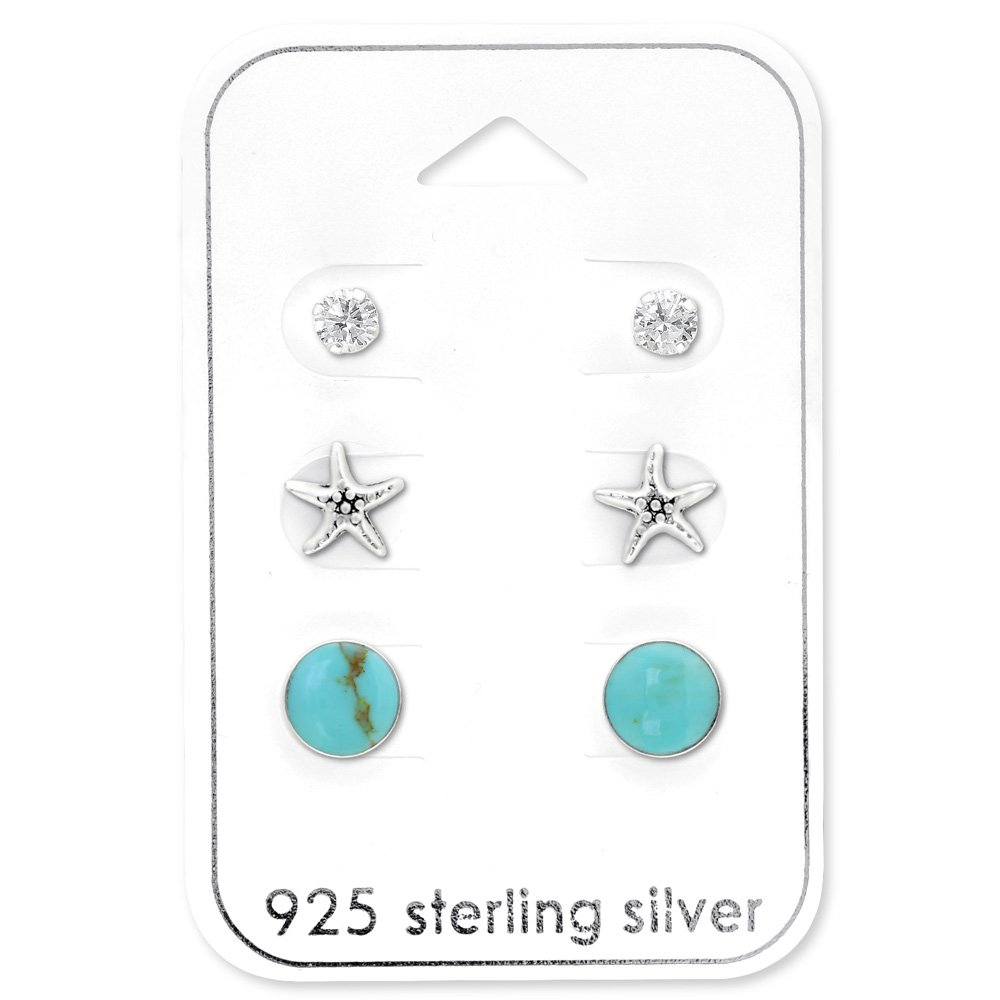 1616babf9 Get Quotations · 925 Sterling Silver Hypoallergenic (SET OF 3) Beach Set w/  Round Turquoise,