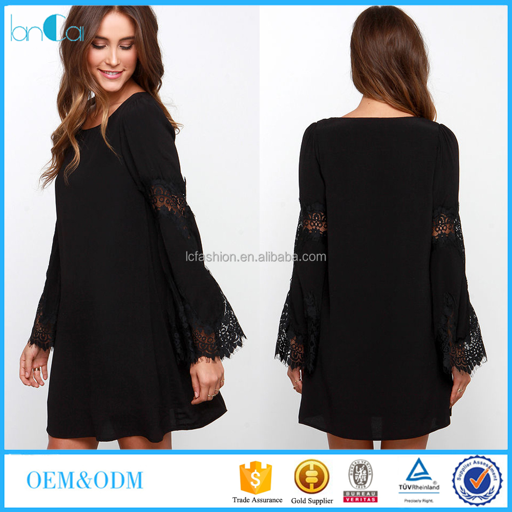 Customize Ladies Black Lace Dress Bell Long Sleeve Shift Dress