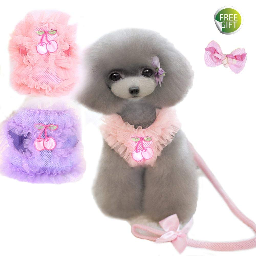 Newtensina Pets Harness & Leashes Cute Lace Breathable Dog Harness and Lead Set for Dog - Include a Cute Pink Hair Clips