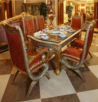 Luxury French Baroque Style Home Dining Room Sets/ Antique Golden Gorgeous  Wood Carving Dining Table