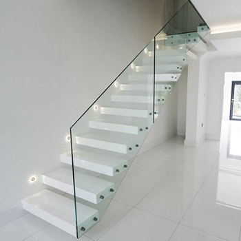 Indoor Wood Stairs White Steps Tempered Gl Railing Straight Floating Staircase For Villa