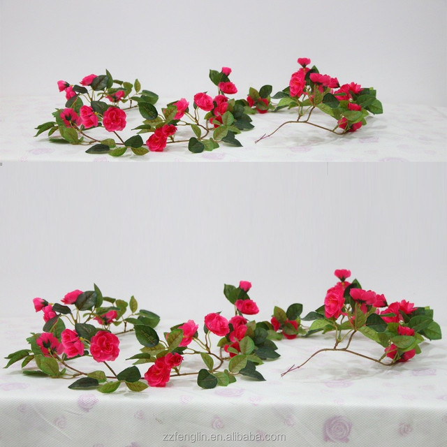 China silk flowers high quality wholesale alibaba high quality hanging silk red rose artificial rose vine decorative flower garland wholesale for wedding decor mightylinksfo