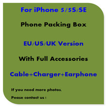 50pcs/lot High Quality US/EU/UK Version Phone Packing Packaging Box Case For iPhone5/5s/se With Full Accessories