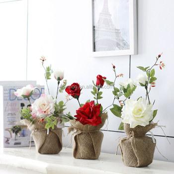 Décoration D\'intérieur De Lin En Pot Roses Artificielles Belles ...