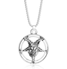 1 PCS Viking Baphomet Odin's Inverted Pentagram Goat Pan God Skull Head Pendant Necklace Amulet Satanism Occult Norse Jewelry