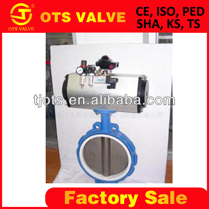 High Quality stainless steel double acting pneumatic butterfly valve DN50