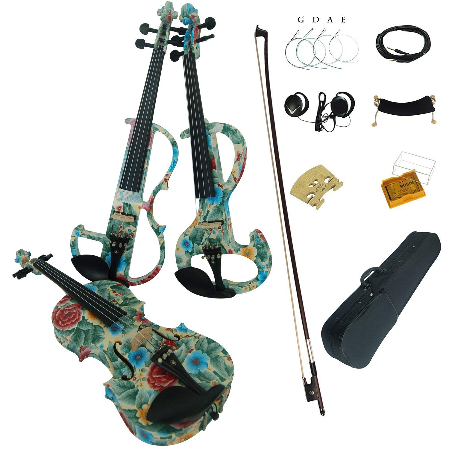 Aliyes Acoustic Violins Full Size Solid Wood Intermediate Green leaves&flowers Violin Kit For Beginners With Case,Shoulder Rest,Bow,Rosin,Extra Bridge And Strings(ALYSDS-1102)