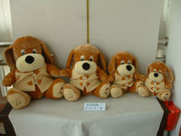 beautiful promotional customized soft stuffed plush brown dog animal toy with cream-colored coat