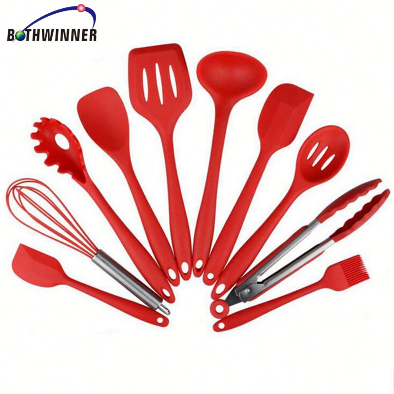 Heat resistant silicone cooking utensils s1yr9j silicone kitchen utensil set 10 pieces