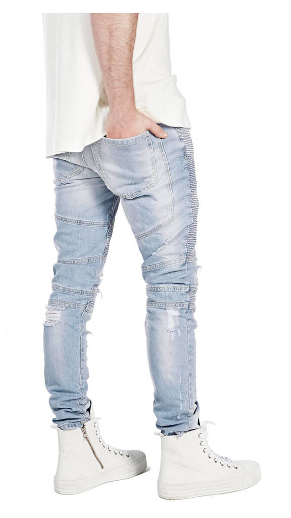 China wholesales OEM custom manufacturers dropshiping mens distressed custom skinny ripped denim biker jeans 019