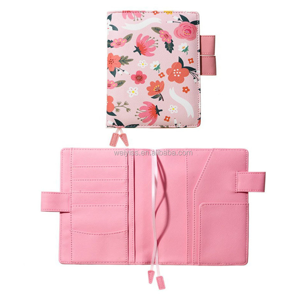 A6 Pink Notebooks Planner PU Leather Notebooks Diary Pen Loop Agenda