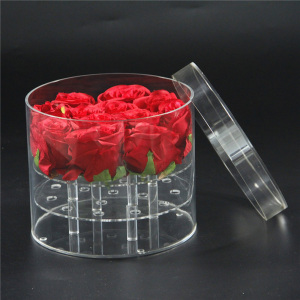 Factory Custom Waterproof 16 Holes Round Preserved Rose Flower Acrylic Box
