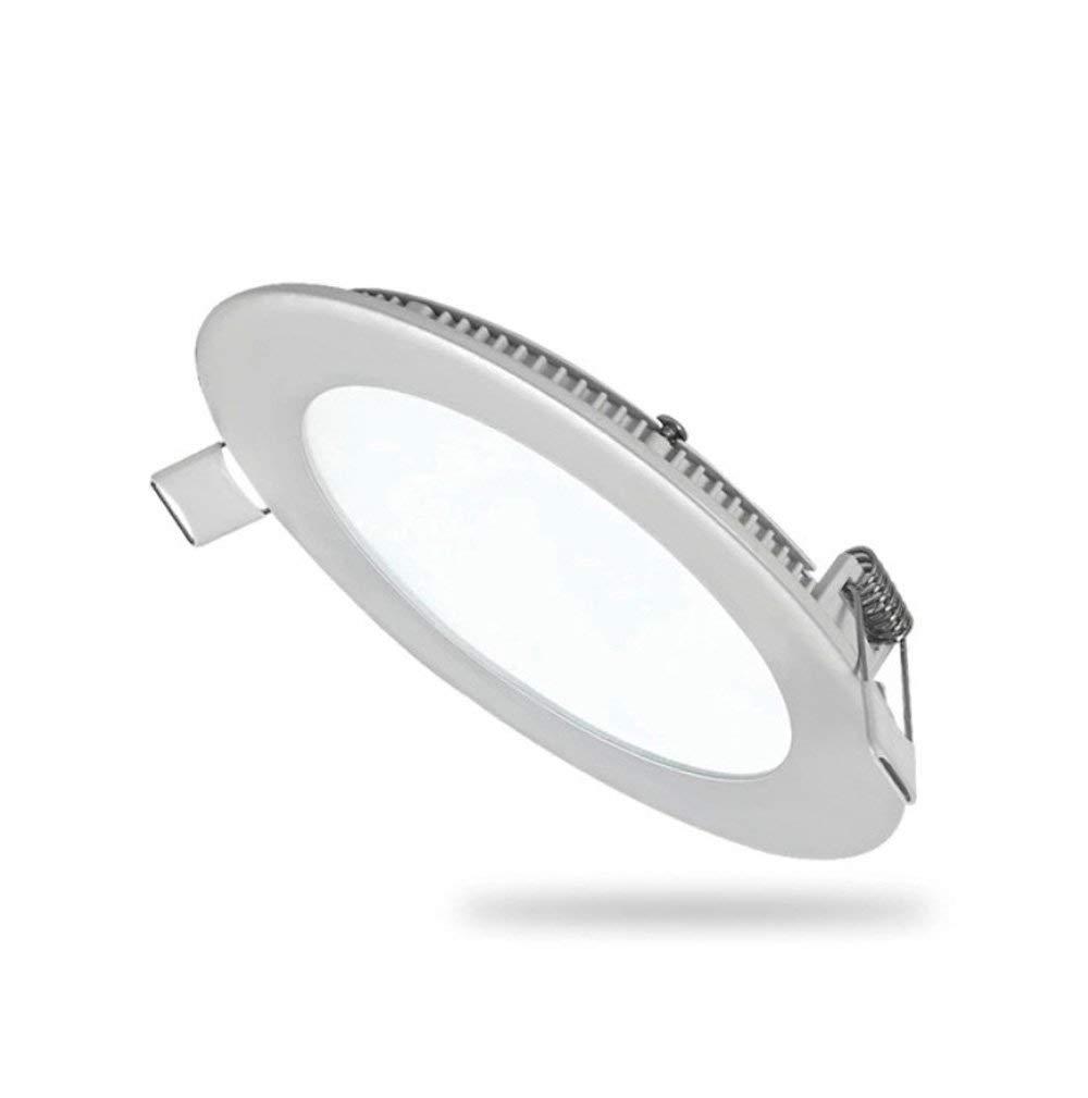 6W Flat LED Panel Light Lamp, Ultra-Thin Round LED Recessed Panel Light, High Brightness 3000K Ceiling Light Panels, Hole Size 4.1 inch,Panel Ceiling Lighting with 110V LED Driver (15)