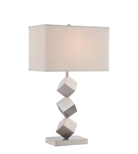 Vietnamese Modern Brushed Nickel Three Cube Resin Table Lamp For Household
