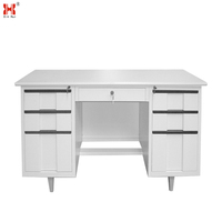Wooden desktop steel frame modern office table / study table design for teacher