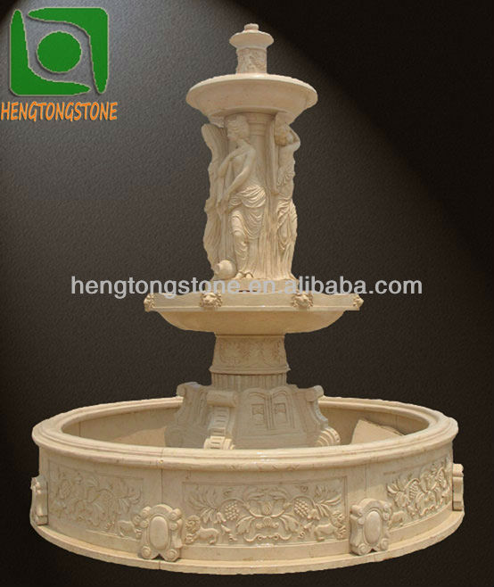Large Outdoor Beige Marble Fountain