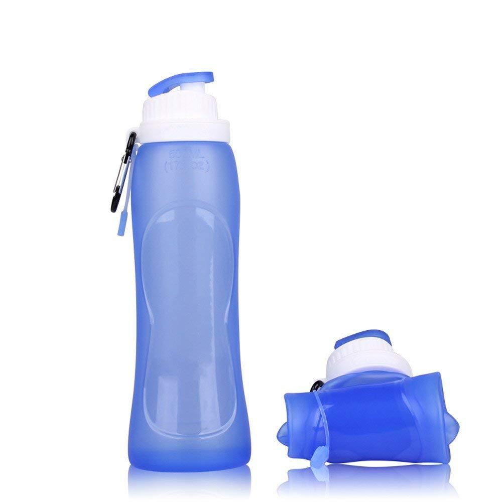 Sanberd Foldable Portable Leak Proof, BPA Free, Non-Toxic, Food Grade Silicone Water Bottle, 17 oz./500 ml