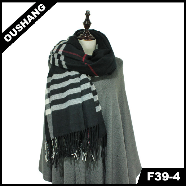 F39-4 Knitted Scarf Square Printed Shawl Men Striped Scarf