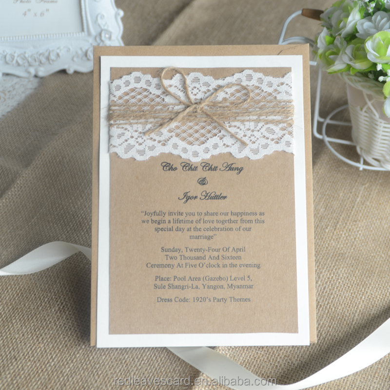 Buy Kraft Paper Wedding Invitation Card With In China On