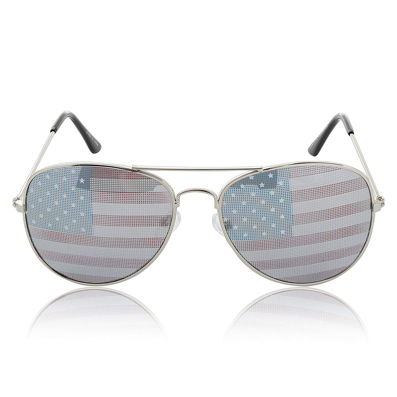 255aa799ba23 Get Quotations · American Flag Sunglasses Patriotic USA Aviator Glasses  100% UV 400 Protection